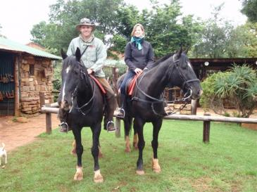 Lloyd and I riding two of Christo's Horses at Kaapsehoop Horse Trails